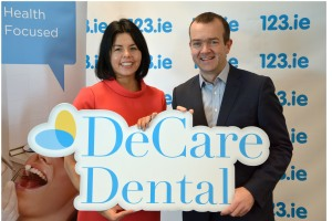 Maureen Walsh, CEO of DeCare Dental and Alan Holmes, Managing Director of 123.ie announcing the partnership of DeCare Dental Insurance and 123.ie.