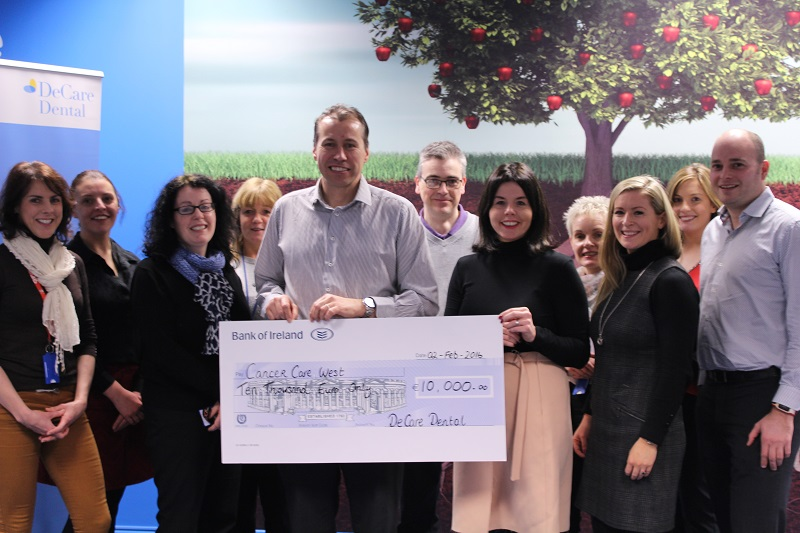maureen-walsh-ceo-of-decare-dental-presenting-the-cheque-to-richard-flaherty-ceo-cancer-care-west-along-with-the-decare-charity-of-the-year-committee-and-david-odonnell-regional-fu800