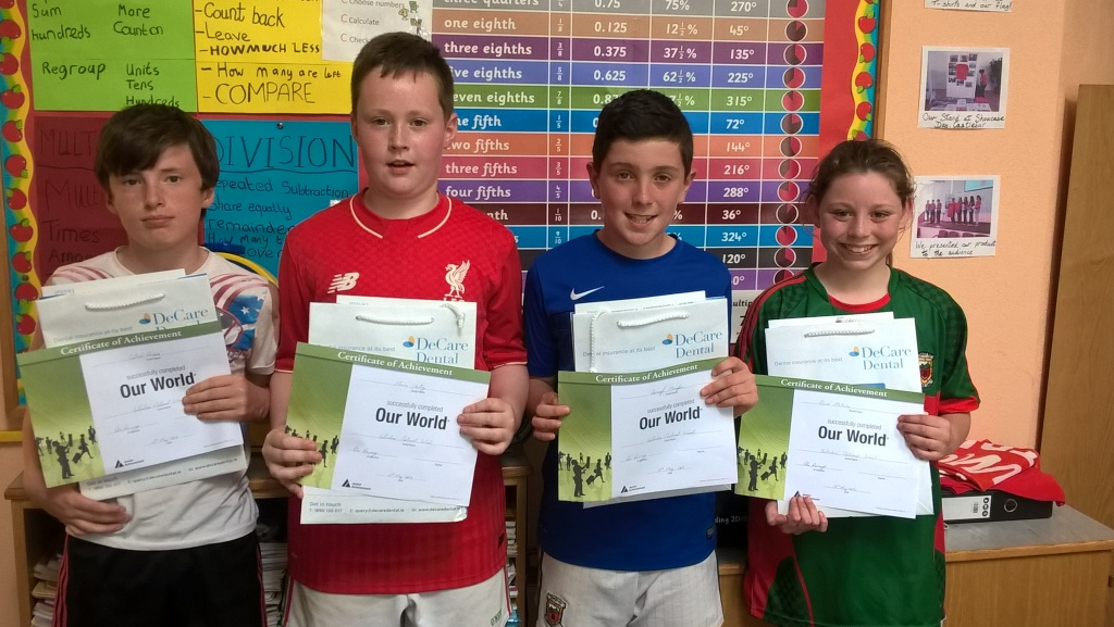 5th & 6th class students in Ballindine NS with Our World Certificates presented by O.Devaney of DeCare Dental