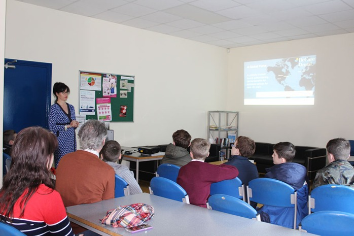 Maureen informing pupils about life at DeCare Dental