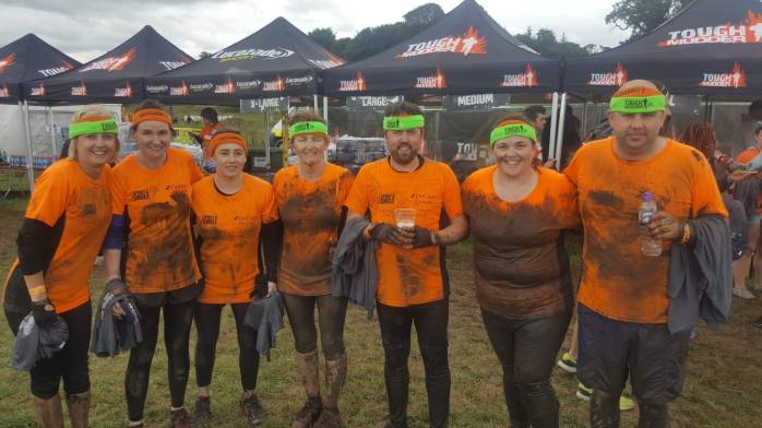 The DeCare Tough Mudder Team LtoR: Noeleen Lowry, Bridget Kearney, Samantha McDonagh, Grace Fallon, Ciaran Sweeney, Aisling Gallagher and Shane McCaffrey.